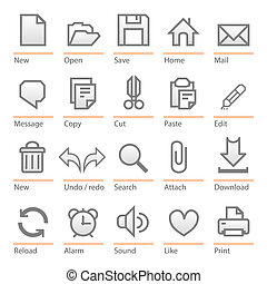 Universal computer software icon set - Minimalist icons:...