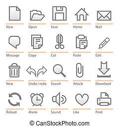 Universal computer software icon set - Minimalist icons:...