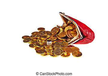 Scattered gold coins are in red purse and dice with word...