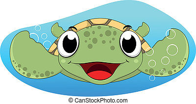 Cute Sea Turtle - Vector Illustration Of Cute Sea Turtle