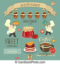 Sweet Cafe Menu Retro Design - Sweet Cafe Menu Card in Retro...