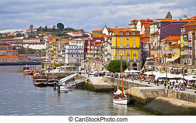 Portugal Porto city View of Douro river embankment