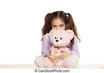 Little girl, and Teddy Bear