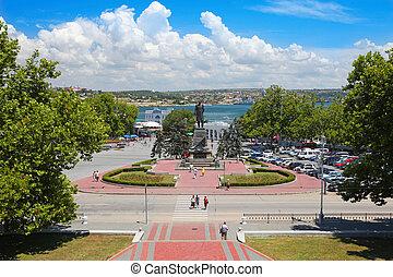 Nahimov Square in Sevastopol, Ukraine in summer