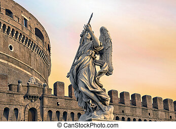 Angel on guard of Rome, statue of an angel on the background...