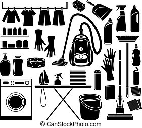 Set of icon cleaning in black and white.
