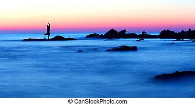 meditação, praia
