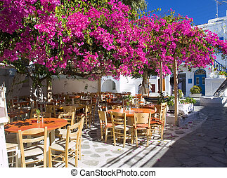 Small square in Mykonos. The photo shows a beautiful place...