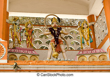 Hanuman Temple, Hyderabad - Statues on display at the front...