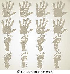 cobrança, mão, pés, impressões
