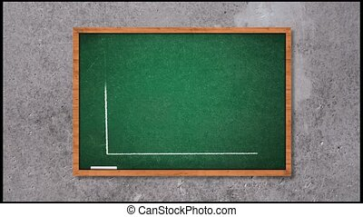 Business graph falling over a green chalkboard