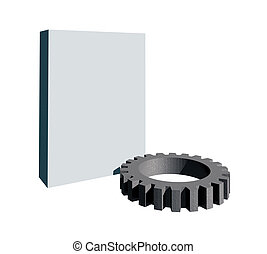 gearwheel - blank packing and gearwheel on white background...
