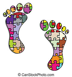 Foot - Illustration foot puzzle on a white background