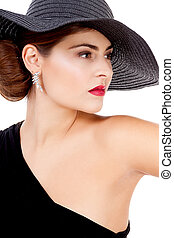 glamour woman with black hat and red lips