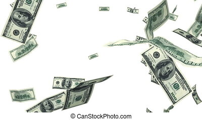 Hundred Dollar bills flying up in looped animation on white...