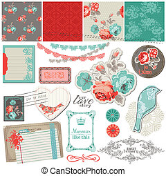 Scrapbook Design Elements - Vintage Roses and Birds - in...