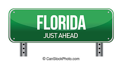 green Florida, USA street sign illustration design over...