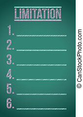 limitation list illustration design over a dark chalkboard