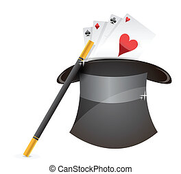 Glossy magic hat, wand and cards illustration design over...
