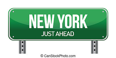 green New york, USA street sign illustration design over...
