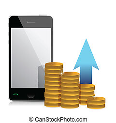 mobile phone and coins illustration design over a white...