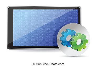 one tablet pc with gears