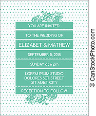 Wedding Invitation Card - Vintage Floral Theme - in vector