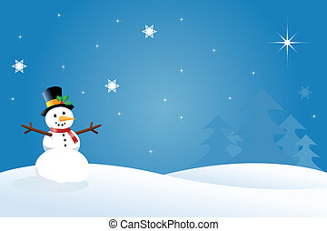 Vector Snowman - Snowman Christmas / Winter Scene