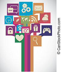 Apps Market - Illustration of icons of tablet apps, apps...