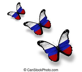 Three Russian flag butterflies, isolated on white