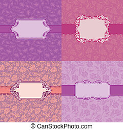 Template frame design for greeting card . - Vector set of 4...