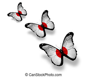 Three japanese flag butterflies, isolated on white
