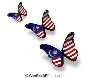 Three Malaysian flag butterflies, isolated on white