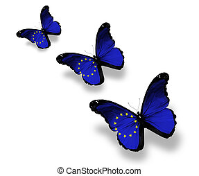 Three European Union flag butterflies, isolated on white