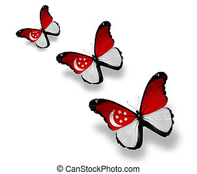 Three Singaporean flag butterflies, isolated on white
