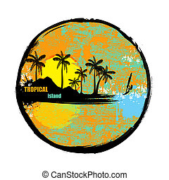 Tropical island grunge stamp on white background, vector...