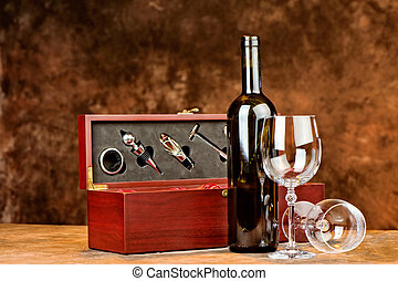 wine bottle and two wine glasses - Composition of wine...