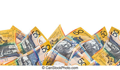 Australian Money Border over White - Border of Australian...