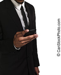 273 mid section of a businessman texting - Mid section of a...