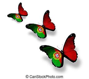 ポルトガル語, 蝶, 3, 隔離された, 旗, 白