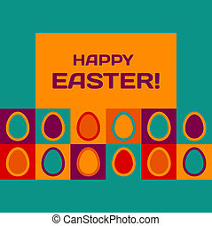 Easter card with eggs and banner - Colorful Easter card...