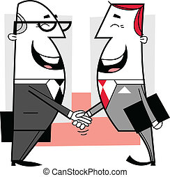 Businessmen shaking hands cartoon illustration