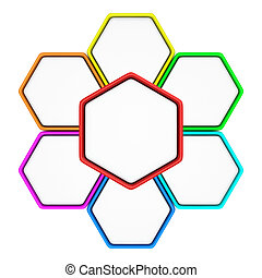 Communication cells - Group of six hexagons with copy space...
