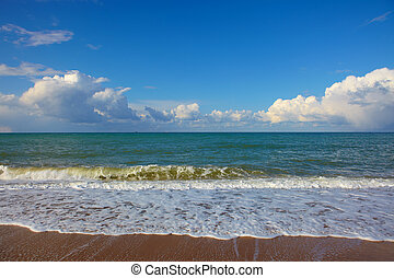 Sea landscape with cloudly sky