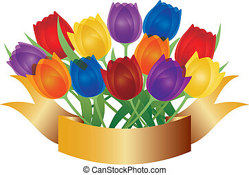 Colorful Tulips with Gold Banner Illustration