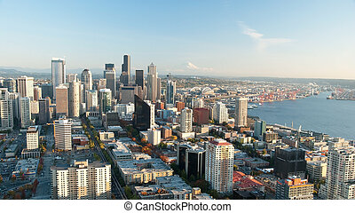 Seattle downtown skyline with view of Mt.Rainier in distance panorama