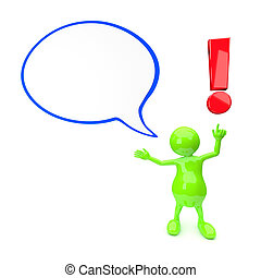 3D People with exclamation mark and text bubble