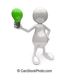 3D People with Lighting Bulb Green
