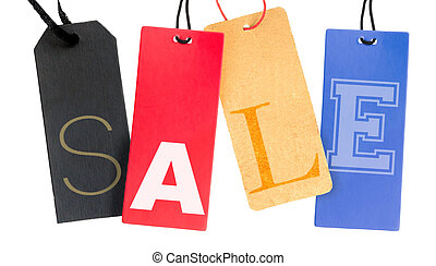 Sale Tags - Paper Tags With Sale Sign Isolated on White...