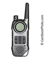 Walkie-talkie - Gray walkie-talkie radio isolated on white...